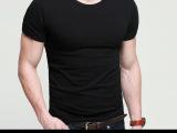 厂家直销 男士打底衫 圆领纯色t恤 纯棉弹力短袖 T恤衫 13L