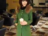 2013冬装新款女装肩膀貉子毛领装饰修身长款呢外套 羊毛呢子大衣