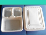 一次性环保三格带盖快餐盒