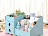 厂家觅秀尔215韩版二抽diy木质收纳盒桌面化妆品收纳盒化妆盒