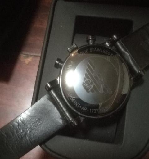 GA男式三眼计时夜光皮带石英手表礼盒全新