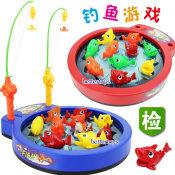 电动音乐钓鱼游戏 大盘鱼 双鱼杆 10条鱼 亲子玩具批发
