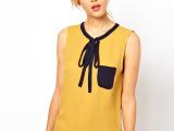 《厂家直销》2013夏款 ASOS无袖背心蝴蝶结衬衫 衬衫女