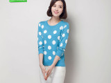2015春装新款时尚女式羊毛衫 日系甜美波点短款套头女式针织衫
