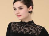 厂家直销韩版女装长袖t恤批发女士薄黑色网纱蕾丝拼接打底衫批发
