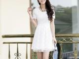 2014夏季新款女装韩版短袖蕾丝连衣裙中腰打底女大码圆领荷叶边裙