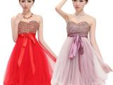 11DLF10 韩版抹胸小礼服 新娘伴娘结婚敬酒晚礼服短款 红色