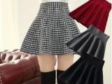 秋冬新款黑白千鸟格子打底针织羊绒A字型短裙百褶高腰蓬蓬半身裙