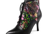 14欧洲站真皮女鞋植物花朵细高跟女靴子  低筒尖头欧洲站马丁靴