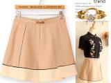 Y7347夏季新款短裙金属装饰褶皱款大摆短裙性感打底短裙厂家直销
