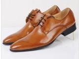 高档皮鞋男尖头风格纯皮打造系带商务皮鞋牛皮精致正装男鞋37码