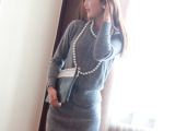 2014秋装新款女装韩版开衫针织衫包臀裙两件套兔毛毛衣套装