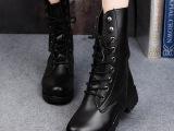 短靴 2014新款冬季欧美风粗跟马丁靴 时尚圆头系带低筒皮靴女靴