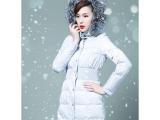2012秋冬新款狐狸毛领可脱卸帽90鹅绒羽绒服女加长款RFG-1