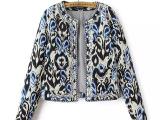 2014秋季外套 欧美风串珠刺绣长袖夹棉加厚 秋冬外套女 女式外