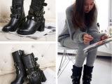 2014秋冬新款 明星同款短靴女韩版爆款真皮女靴子粗跟马丁靴批发