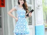 2014春装新款欧根纱连衣裙夏季修身甜美裙 韩版女装短袖裙子