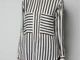 2013春装新款 韩版半透明条纹不规则宽松显瘦长袖雪纺衬衫女31