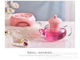 厂家直销批发高档陶瓷花茶壶耐高热玻璃壶下