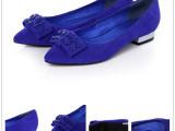 2014新款欧美单鞋高丝光牛京 猪皮垫脚低跟尖头女鞋现货批发零售