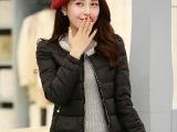 2014冬装新款加厚保暖羽绒服女短款长袖韩版圆领钉珠修身外套女