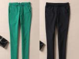 2014秋季新款裤子中腰休闲裤女式长裤 黑色大码女裤小脚铅笔裤子