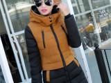 韩国东大门新款女式大码拼接中长款羽绒服女连帽修身外套一件代发