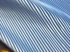 服装布料 天蓝色细条纹风琴褶压皱百褶仿真