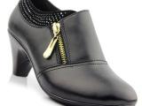 厂家直销2014新款真皮深口粗跟单鞋女式黑色工作鞋水钻中跟女鞋子