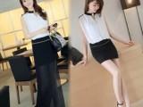 女装夏装韩版V领包臀 两穿性感修身 无袖雪纺连衣裙