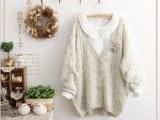 秋装新品女 粗棒针织麻花编织杂色点点V领宽松蝙蝠袖毛衣开衫外套