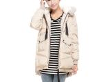 2012秋冬韩版大码女装加厚休闲军工装新款鹅绒羽绒服外套中长款女