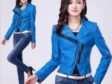 秋装新品皮衣外套 女士韩版pu夹克短款修身圆领皮衣