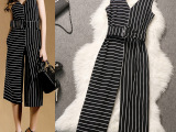 一件代发2015夏季女装欧洲站高端精品大牌条纹深V无袖显瘦连体裤