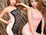 媚火品牌高品质性感新款蕾丝网纱双层辣妹夜店女装 紧身包臀短裙