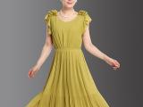 批发新款中年女装夏装短袖雪纺连衣裙妈妈修身时尚纱裙中老年长裙