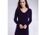 2014新款 纯貂绒衫 女式高贵韩版V领长款毛衣 正品修身针织毛