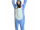 冬珊瑚绒爱情侣卡通动物恐龙睡衣史迪仔法兰绒连体睡衣如厕版