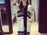 2015秋冬新款韩国新款针织开衫长款口袋条纹宽松加厚毛衣女外套