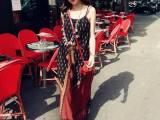 2014夏款复古波点民族风吊带连衣裙 沙滩裙 长裙