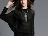 2015欧洲站蕾丝拼接雪纺衬衫新款女蝙蝠袖秋装性感欧美上衣 蕾丝