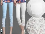 2014夏季新款蕾丝钩花镶钻薄夏白色外穿九分小脚裤打底八分七分裤