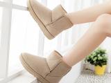 短靴2014新款加厚加绒雪地靴女 纯色百搭平底保暖棉靴冬靴批发