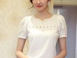 2014雪纺衫女夏装新款短袖修身镂空蕾丝V领潮白色打底衫8585