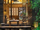 四川成都廠家設計園林庭院 防腐木欄桿花箱棧道 戶外木桌椅