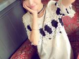 2014韩版新款 夏装复古甜美刺绣蕾丝拼接娃娃衫 连衣裙