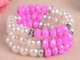 儿童珍珠多圈弹性手镯 P2112韩国气质韩版混搭多层时尚元素手链