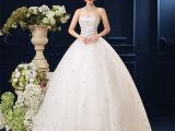 2015新款韩版抹胸婚纱礼服新娘白色齐地绑带蕾丝奢华水钻现货12