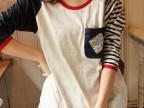 供应2014夏季森女日系口袋拼接红色包边不对称袖条纹休闲长袖T恤