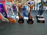 3维水晶喷砂奖杯定做 西安太阳花奖杯纪念礼品 水晶柱奖牌定做